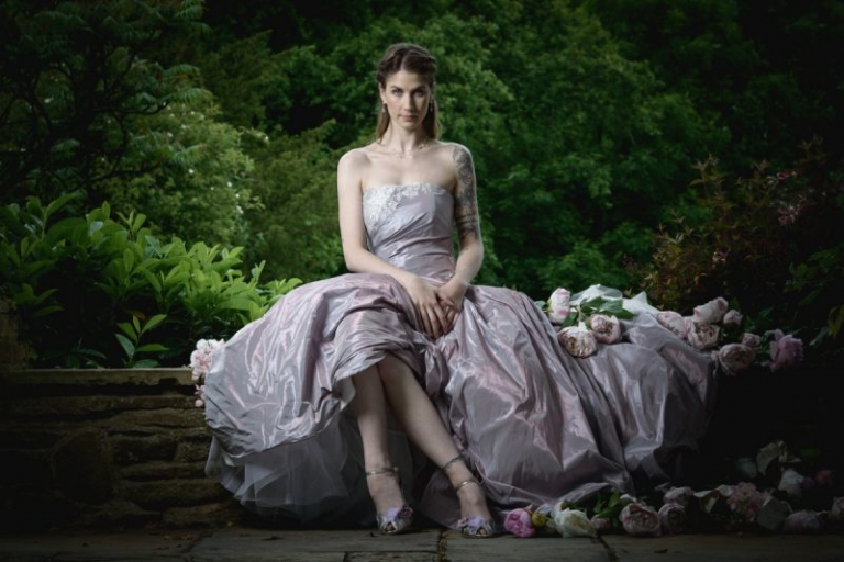 Wedding Dress by Felicity Westamcott Lilac Taffeta dress with silver lace. Photograpahy by Simon Hooley