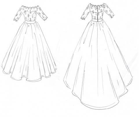 Original design sketch for bespoke wedding gown