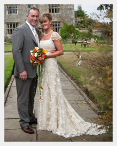 Wedding dress by Felicity Westmacott, Empire line wedding dress in pale gold silk satin and beaded lace:
