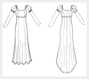Wedding dress by Felicity Westmacott, Empire line wedding dress in pale gold silk satin and beaded lace: Original design sketch