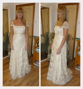 Wedding dress by Felicity Westmacott, Empire line wedding dress in pale gold silk satin and beaded lace: Fitting picture, front