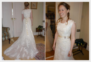 Wedding dress by Felicity Westmacott, Modest ivory lace and satin wedding dress: fitting pictures in a partly finished dress