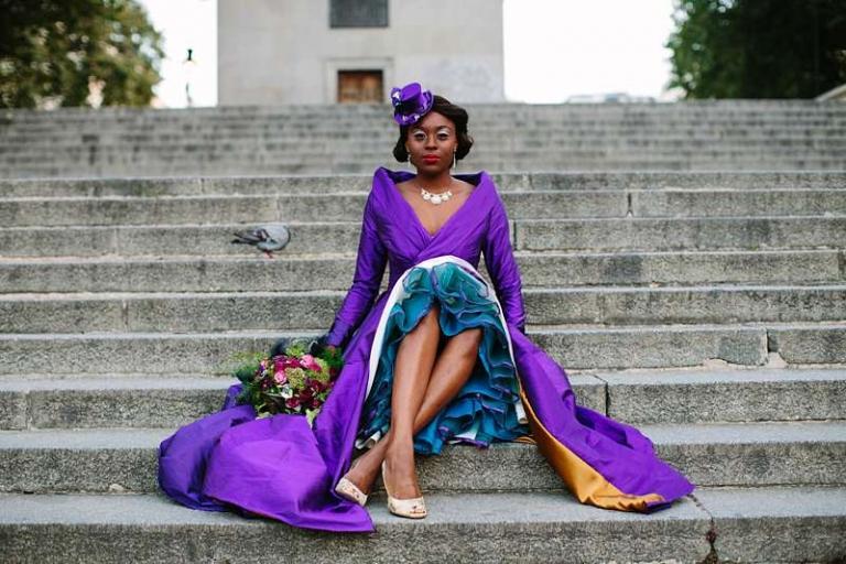 duke of york steps purple wedding coat and teal petticoat