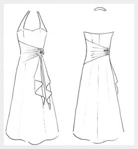 Wedding dress by Felicity Westmacott: cream silk with yellow sash and halter neck: design idea