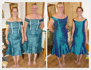 Bridesmaids by Felicity Westmacott: teal silk with off the shoulder necklines and fit and flare skirts: fitting pictures