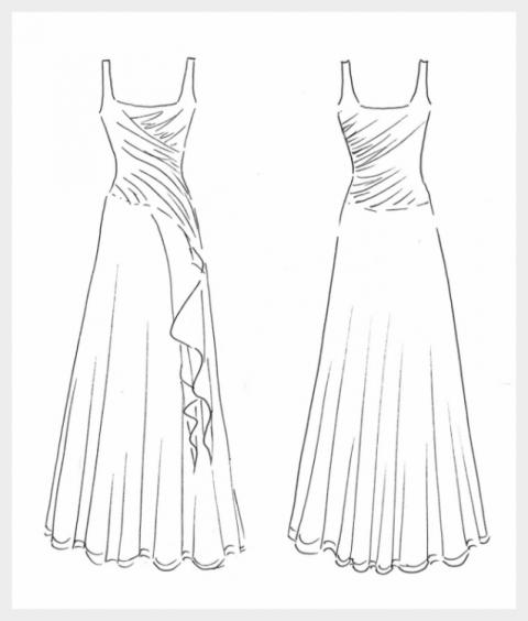 Wedding Dress by Felicity Westmacott: Draped blush pink chiffon on boned boned and waterfall skirt: original design sketch