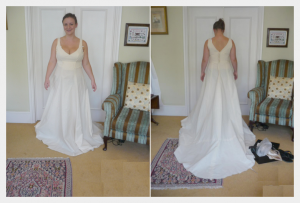 Wedding dress by Felicity Westmacott: White silk chiffon layers with diamante detail, the toile (practice run) fitting