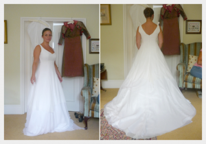 Wedding dress by Felicity Westmacott: White silk chiffon layers with diamante detail, a fitting in the partly made dress
