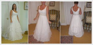 Wedding dress by Felicity Westmacott: White silk chiffon layers with diamante detail, Alice at her final fitting