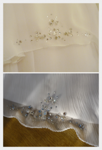 Wedding dress by Felicity Westmacott: White silk chiffon layers with diamante detail, detail of beading to skirt layers