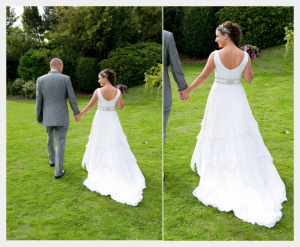 Wedding dress by Felicity Westmacott: White silk chiffon layers with diamante detail