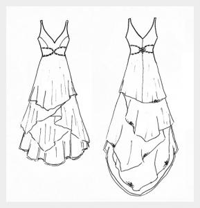 Wedding dress by Felicity Westmacott: White silk chiffon layers with diamante detail, original design sketch
