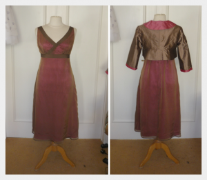Dress and Bolero for Karen, Mother of the Bride, by Felicity Westmacott. Cerise chocolate silk, v-neck dress and waterfall collar bolero