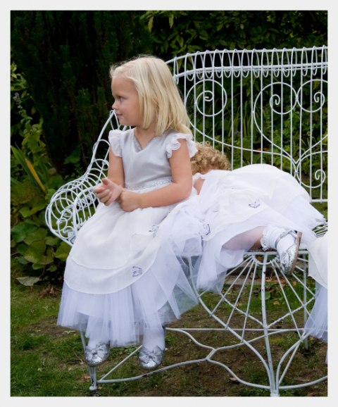 Flowergirl dresses by Felicity Westmacott: Silver silk-satin, chiffon and tulle with diamante and butterfly detail