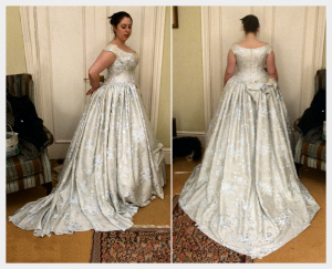 Wedding Dress by Felicity Westmacott: Historical victorian inspired in pale blue silk with corset, pleats and embroidery: fitting picturec