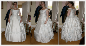 Wedding Dress by Felicity Westmacott: Historical victorian inspired in pale blue silk with corset, pleats and embroidery, fitting picture