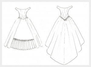 Wedding Dress by Felicity Westmacott: Historical victorian inspired in pale blue silk with corset, pleats and embroidery: Design sketch