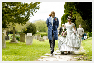 Wedding Dress by Felicity Westmacott: Historical victorian inspired in pale blue silk with corset, pleats and embroidery