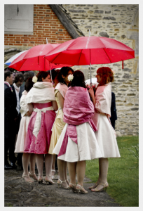 Bridesmaids dresses by Felicity Westmacott, pink ivory and gold silk dupion with sashes and off the shoulder straps: matching stoles