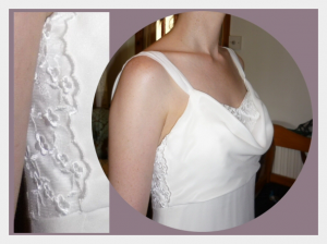 Wedding dress by Felicity Westmacott, bias cut silk crepe with cowl neckline, low back and wing train