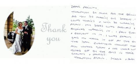 Silver silk wedding dress by Felicity Westmacott: thank you letter