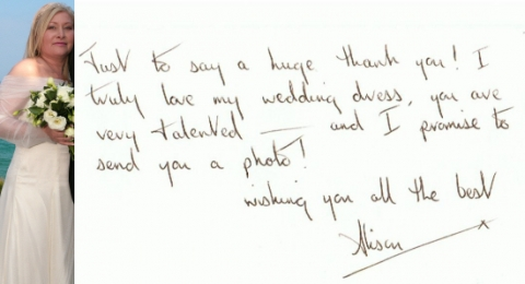 Ivory tulle wedding dress by Felicity Westmacott: thank you letter