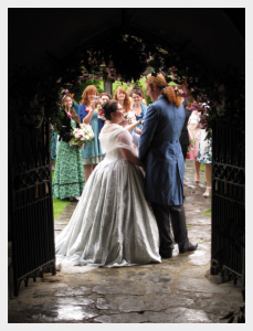Period inspired silk wedding coat by Felicity Westmacott
