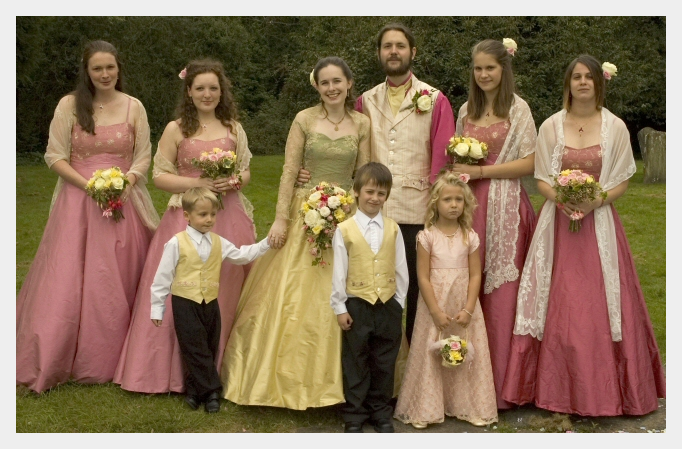 Embroidered wedding dress by Felicity Westmacott: with my bridesmaids and pageboys