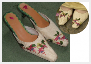 Embroidered wedding dress by Felicity Westmacott: matching embroidered shoes