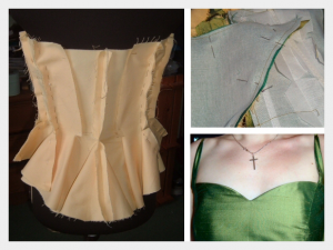 Embroidered wedding dress by Felicity Westmacott: the bodice in various stage of progress