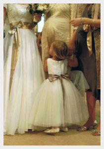 Flower girl dresses by Felicity Westmacott, ivory duchess satin and soft tulle with coffee ribbon sashes