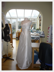 Wedding dress by Felicity Westmacott: on a stand in my studio
