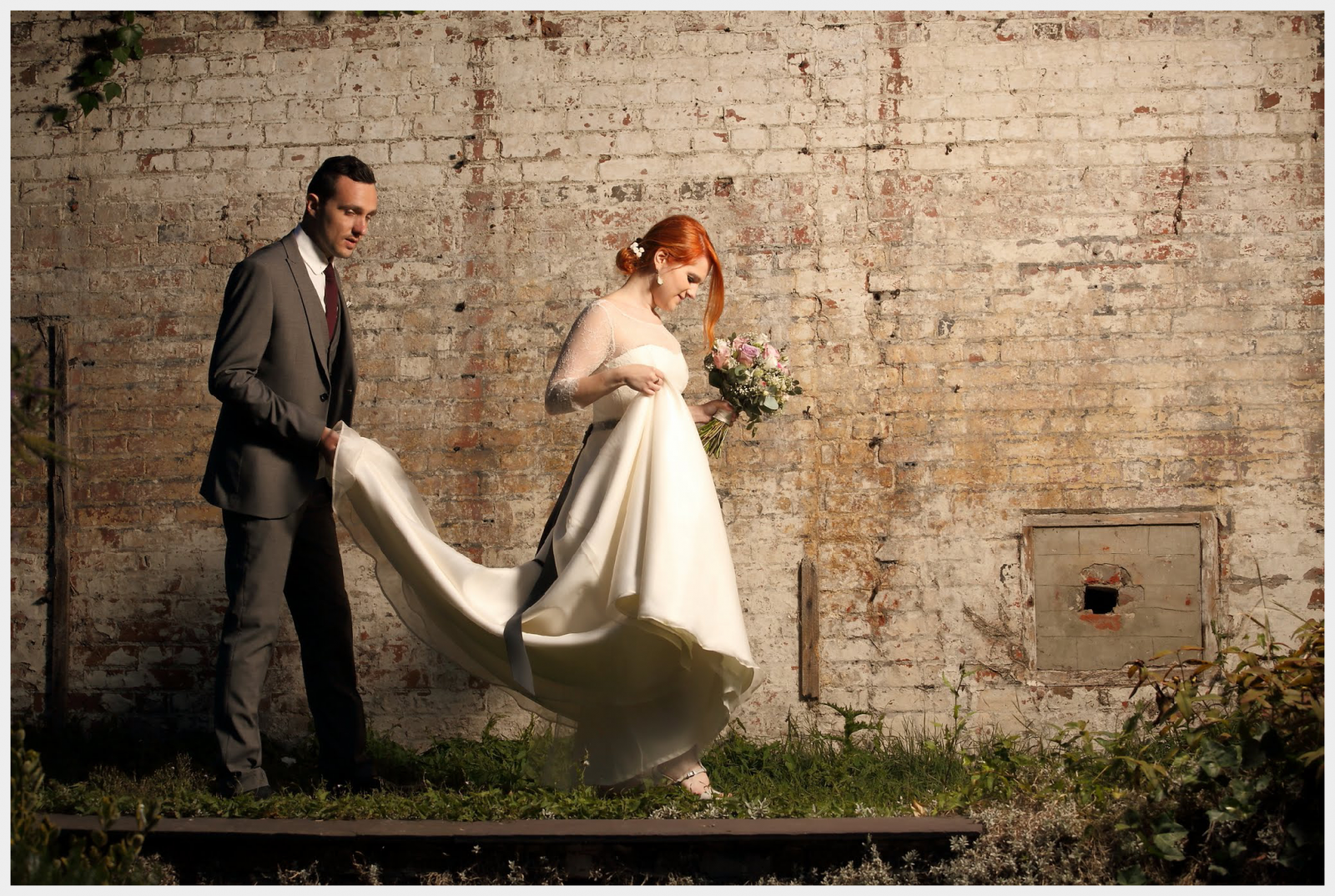 Wedding Dress by Felicity Westmacott: French lace and silk organza with ribbon sash