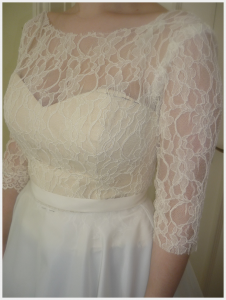 Wedding Dress by Felicity Westmacott: French lace and silk organza with ribbon sash, toile fitting in practice fabrics