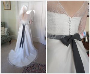 Wedding Dress by Felicity Westmacott: French lace and silk organza with ribbon sash fitting pictures