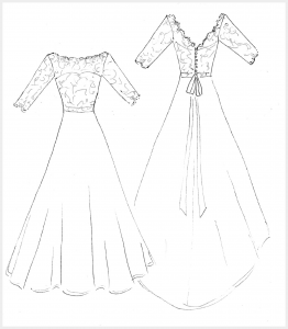 Wedding Dress by Felicity Westmacott: French lace and silk organza with ribbon sash, original design sketch