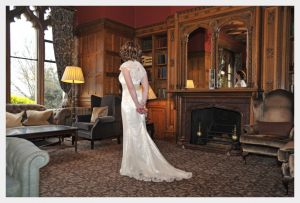Wedding dress by Felicity Westmacott, vintage styling, satin and lace with beaded edging and silk sash