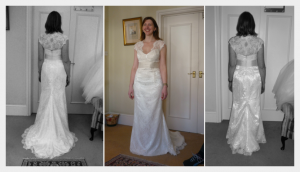 Wedding dress by Felicity Westmacott, vintage styling, satin and lace with beaded edging and silk sash, fitting pictures