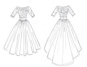 Ivory lace wedding dress by Felicity Westmacott with long sleeves and full tulle skirt: design sketch