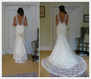 Wedding Dress by Felicity Westmacott, buttermilk silk and ivory corded lace, backless with diamante detail at underbust, train out and hooked up