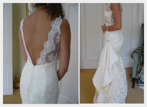Wedding Dress by Felicity Westmacott, buttermilk silk and ivory corded lace, backless with diamante detail at underbust