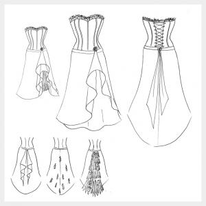 Black and red satin Goth, corset wedding dress by Felicity Westmacott: original design sketch