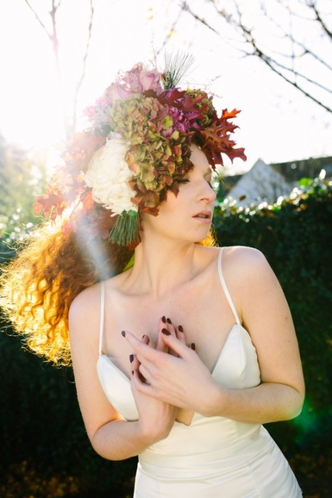Katja Cemic in flower crown: flowers by by Muscari Whites, Dress Design by Felicity Westmacott, Photography by Jessica Partridge, Frost on the Leaves Photoshoot,