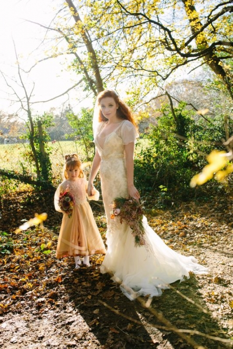 Flowergirl in lame and georgette and bride Katja Cemic in antique silver lace dress by felicity Westmacott, Bouquet by Muscari Whites, Photography by Jessica Partridge, Frost on the Leaves Photoshoot