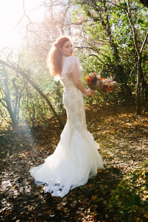 Bride Katja Cemic in antique silver lace dress by felicity Westmacott, Bouquet by Muscari Whites, Photography by Jessica Partridge, Frost on the Leaves Photoshoot