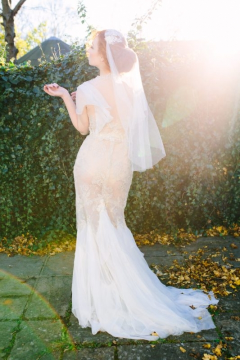 Bride Katja Cemic in antique silver lace dress by Felicity Westmacott, Veil by Jen Levet, Photography by Jessica Partridge, Frost on the Leaves Photoshoot