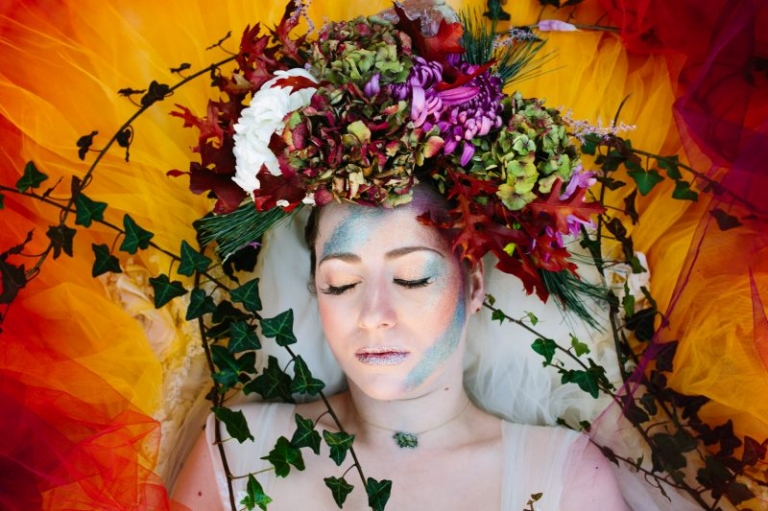 Keely Simeoni in a dip-dye wedding dress: Flowers by Muscari Whites, Make-up by Charlotte Light: Dress Design by Felicity Westmacott, Photography by Jessica Partridge, Frost on the Leaves Photoshoot