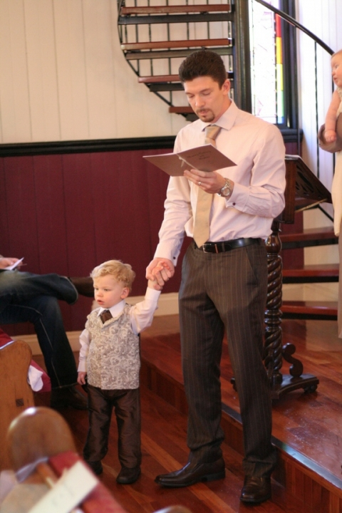 Brocade and silk christening waistcoat, cravat and trousers by Felicity Westmacott