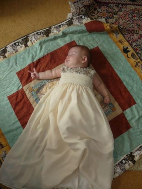 Mini-me christening dress in beaded chiffon by Felicity Westmacott