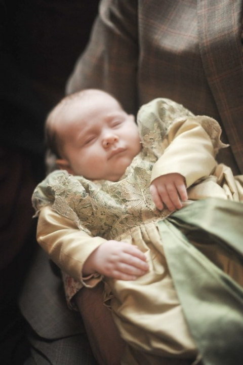 Mini-me Christening gown in green silk and gold lace by Felicity Westmacott